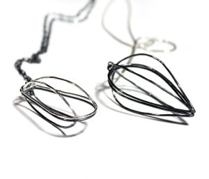 Split Cage Drop Pendants, polished and patinaed sterling silver